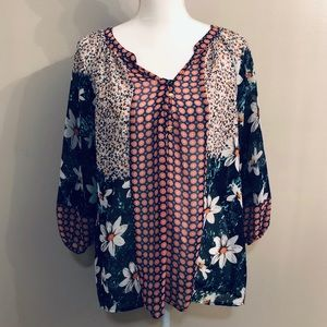 New Directions Floral Bohemian Spring Blouse